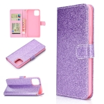 For Samsung Galaxy A22 5G Glitter Powder Horizontal Flip Leather Case with Card Slots & Holder & Photo Frame & Wallet(Purple)