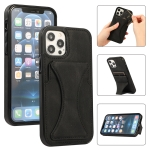 Ultra-thin Shockproof Protective Case with Holder For iPhone 12 / 12 Pro(Black)