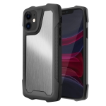Stainless Steel Metal PC Back Cover + TPU Heavy Duty Armor Shockproof Case For iPhone 11(Brush Silver)