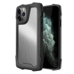 Stainless Steel Metal PC Back Cover + TPU Heavy Duty Armor Shockproof Case For iPhone 11 Pro Max(Brush Silver)