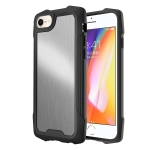 Stainless Steel Metal PC Back Cover + TPU Heavy Duty Armor Shockproof Case For iPhone 8 / 7 / SE 2020(Brush Silver)