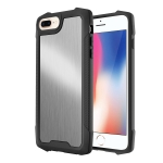 Stainless Steel Metal PC Back Cover + TPU Heavy Duty Armor Shockproof Case For iPhone 8 Plus / 7 Plus(Brush Silver)