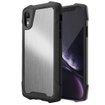 Stainless Steel Metal PC Back Cover + TPU Heavy Duty Armor Shockproof Case For iPhone XR(Brush Silver)