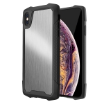 Stainless Steel Metal PC Back Cover + TPU Heavy Duty Armor Shockproof Case For  iPhone XS Max(Brush Silver)