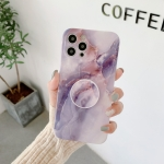 Agate Marble Pattern Protective Case With Holder For iPhone 12 Pro(Purple)
