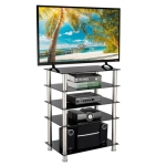 [US Warehouse] Simple Five-layer Tempered Glass TV Cabinet for TVs Below 60 inch
