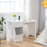 [US Warehouse] B-style Painted Wooden Student Desk with Drawer & Storage Shelf