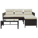 [US Warehouse] 3 PCS/Set Outdoor Rattan Furniture Sofa with Cushions