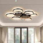 [US Warehouse] Warm White LED Circular Line Chandelier Height Adjustable Ceiling Hanging Lamp, Size: 33 x 30.7 x 2.6 inch