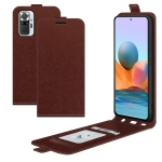 For Xiaomi Redmi Note 10 Pro / Note 10 Pro (Indian Version) / Note 10 Pro Max R64 Texture Single Vertical Flip Leather Protective Case with Card Slots & Photo Frame(Brown)