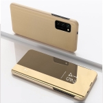 For OPPO A74 4G/F19 Plated Mirror Horizontal Flip Leather Case with Holder(Gold)