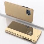 For OPPO F19 Pro / Reno5 F/ A94 4G Plated Mirror Horizontal Flip Leather Case with Holder(Gold)