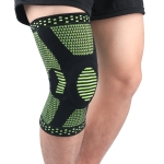 Sports Knee Pads Anti-Collision Support Compression Keep Warm Leg Sleeve Knitting Basketball Running Cycling Protective Gear, Size: L(Black Green)