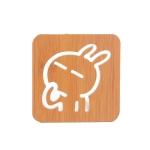 20 PCS Wooden Insulation Pad Mesh Pad Kitchen Hollow Dish Pan Cushion Small Coaster (Rabbit)