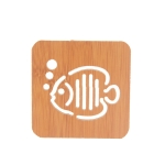 20 PCS Wooden Insulation Pad Mesh Pad Kitchen Hollow Dish Pan Cushion Small Coaster (Bubble Fish)