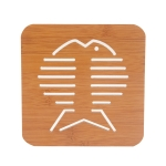 20 PCS Wooden Insulation Pad Mesh Pad Kitchen Hollow Dish Pan Cushion Large Placemat (Big Fish)