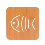 20 PCS Wooden Insulation Pad Mesh Pad Kitchen Hollow Dish Pan Cushion Large Placemat (Small Fish)