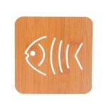 20 PCS Wooden Insulation Pad Mesh Pad Kitchen Hollow Dish Pan Cushion Large Placemat (Small Fish)