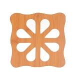 20 PCS Wooden Insulation Pad Mesh Pad Kitchen Hollow Dish Pan Cushion Large Placemat (Square Plum)
