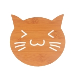 20 PCS Wooden Insulation Pad Mesh Pad Kitchen Hollow Dish Pan Cushion Large Placemat (Cat)