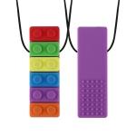 2 PCS Silicone Baby Building Block Teether Autistic Children Molar Stick, Colour: Purple