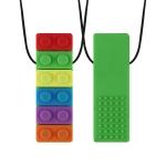 2 PCS Silicone Baby Building Block Teether Autistic Children Molar Stick, Colour: Green