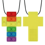 2 PCS Silicone Baby Building Block Teether Autistic Children Molar Stick, Colour: Yellow Two