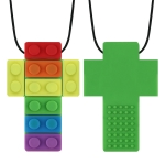 2 PCS Silicone Baby Building Block Teether Autistic Children Molar Stick, Colour: Green Two