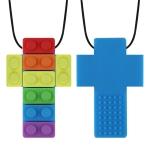 2 PCS Silicone Baby Building Block Teether Autistic Children Molar Stick, Colour: Blue Two