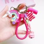 4 PCS Cute Soft Clay Rainbow Keychain Student Schoolbag Lollipop Pendant, Colour: Rose Rope Rainbow