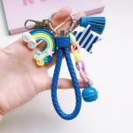4 PCS Cute Soft Clay Rainbow Keychain Student Schoolbag Lollipop Pendant, Colour: Royal Blue Rainbow