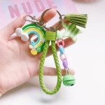 4 PCS Cute Soft Clay Rainbow Keychain Student Schoolbag Lollipop Pendant, Colour: Green Rope Rainbow