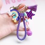 4 PCS Cute Soft Clay Rainbow Keychain Student Schoolbag Lollipop Pendant, Colour: Purple rope rainbow accessories