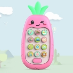 2 PCS Baby Early Education Chinese-English Bilingual Multifunctional Telephone Toy, Colour: Pink Pineapple