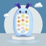2 PCS Baby Early Education Chinese-English Bilingual Multifunctional Telephone Toy, Colour: Blue Rabbit