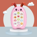 2 PCS Baby Early Education Chinese-English Bilingual Multifunctional Telephone Toy, Colour: Red Rabbit
