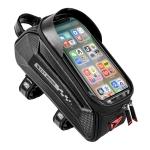 WEST BIKING 7 Inch Bike Top Tube Front Hard Shell Bag Touch Screen Waterproof Riding Gear Bag(Black)