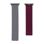 Silicone Magnetic Replacement Strap Watchband For Apple Watch Series 6 & SE & 5 & 4 44mm / 3 & 2 & 1 42mm(Grey+Wine Red)