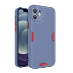 Contrast-Color Straight Edge Matte TPU Shockproof Case with Sound Converting Hole For iPhone 12(Grey)