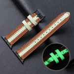 Cowhide Leather Luminous Replacement Strap Watchband For Apple Watch Series 6 & SE & 5 & 4 40mm / 3 & 2 & 1 38mm(Brown)