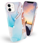 Frosted Watercolor Marble TPU Protective Case For iPhone 11 Pro(Aqua Blue)