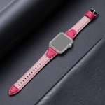 Splicing Cowhide Leather Replacement Strap Watchband For Apple Watch Series 6 & SE & 5 & 4 44mm / 3 & 2 & 1 42mm(Rose Red)