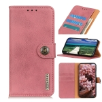 For Samsung Galaxy A03s KHAZNEH Cowhide Texture Horizontal Flip Leather Case with Holder & Card Slots & Wallet(Pink)