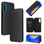 For TCL 20S Carbon Fiber Texture Magnetic Horizontal Flip TPU + PC + PU Leather Case with Card Slot(Black)