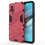 For vivo S9e Punk Armor 2 in 1 PC + TPU Shockproof Case with Invisible Holder(Light Red)