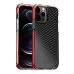 Transparent Carbon Fiber  + TPU Shockproof Case For iPhone 12 / 12 Pro(Red)