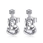 S925 Sterling Silver Retro Guitar Ear Studs Women Earrings