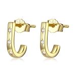 S925 Sterling Silver Star Crutch Ear Studs Women Earrings(Gold)