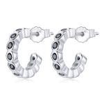 S925 Sterling Silver Geometric Simple Fashion Ear Studs Women Earrings, Color:Black Zircon Silver