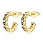 S925 Sterling Silver Geometric Simple Fashion Ear Studs Women Earrings, Color:Black Zircon Gold